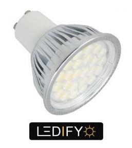 50W Dimmable GU10 | Cool White LED Bulb | Halogen 50-60W Equivalent 490 lumens